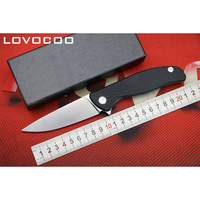 LOVOCOO HATI LOW VERSION D2 Blade G10 Handle Flipper Folding Knife Outdoor Camping Hunting Pocket Gift