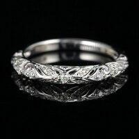 SOLID 14 К белого золота Книги по искусству Nouveau филигрань Юбилей группа бриллиантами обручальное кольцо
