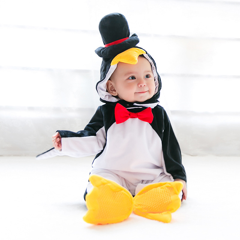 Baby Penguin Cosplay Costume  Halloween Costume For Kids baby children Pure Cotton Cute Penguin Jumpsuit Playsuit Costume Soft