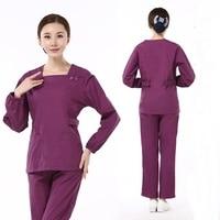 [SET] 100% Cotton Women's long sleeve Scrubs Set Medical Nursing Uniform