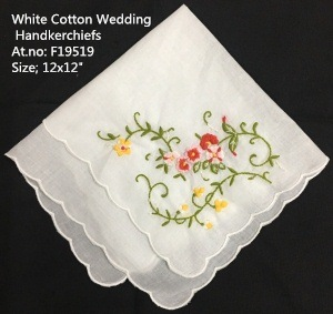 Set Of 12 Fashion Wedding Bradal Handkerchiefs White Cotton Hankie With Scallop Edges & Color Embroidery Floral Hanky 12x12-inch