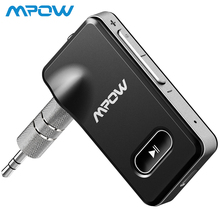 Mpow Bluetooth 4.1 Receiver Portable Wireless 3.5mm Audio Adapter 5-Min Quick Charge Hands-free Calling Car Kit Sliver