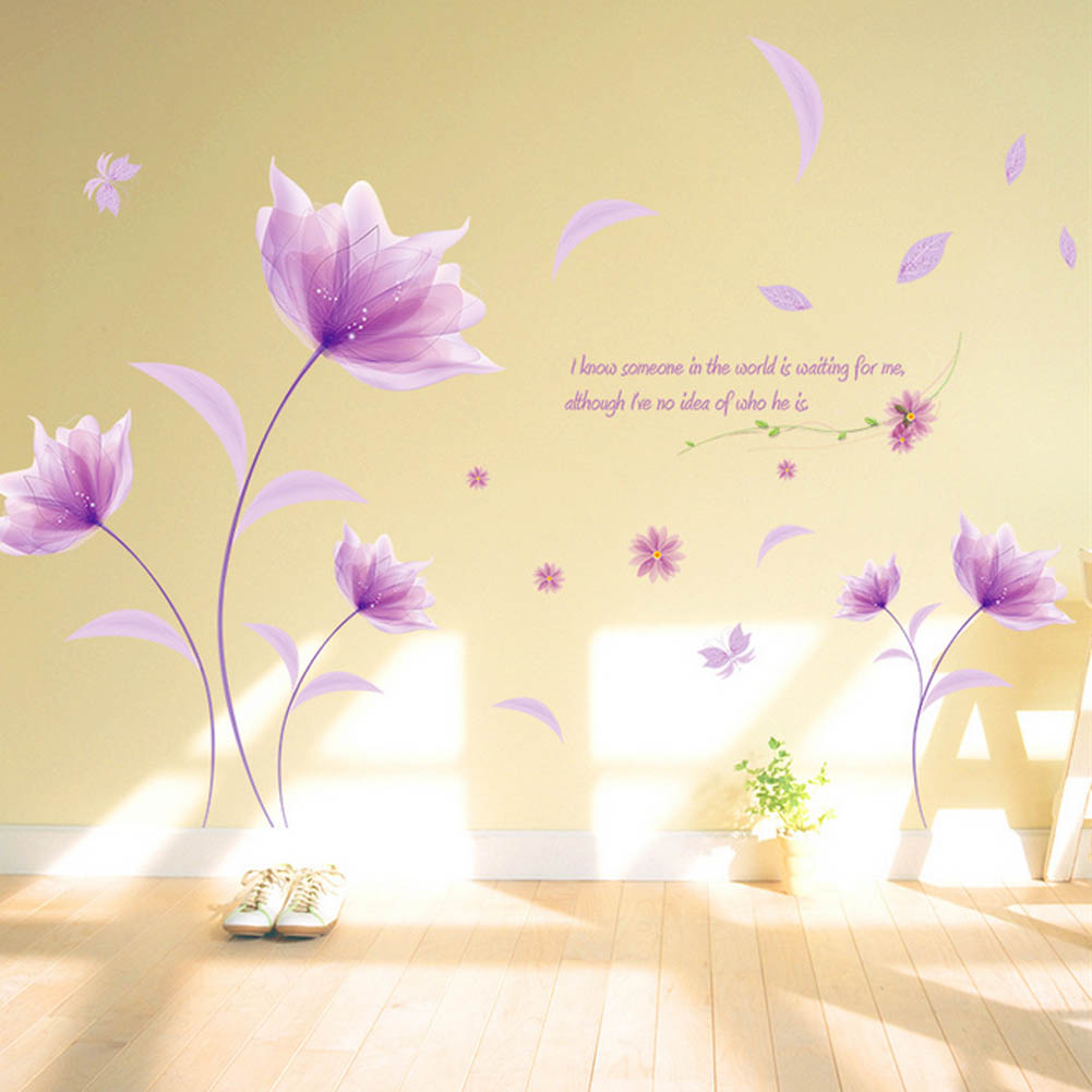 Purple Romantic Big Flower Wall Stickers Home Decor: New Flowers In The Wind Purple Romantic Warm Wall Stickers