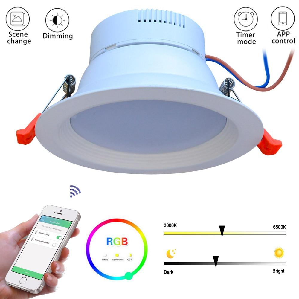 JIAWEN Maison Intelligente Zigbee RGBW 9 w LED Downlight APP Contrôle Travail avec Amazon Echo Plus Directement Solution D'éclairage Intelligente