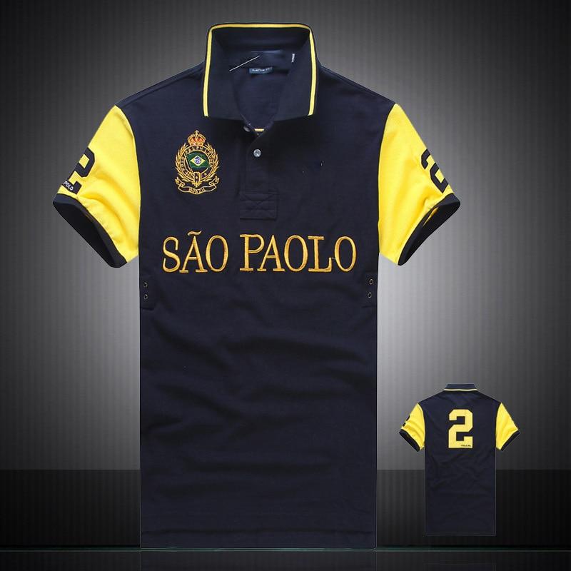 Top Quality Men   Polo   Shirt Brands 100% Cotton Lapel   Polo   Shirts Men Embroidery Famous City Name