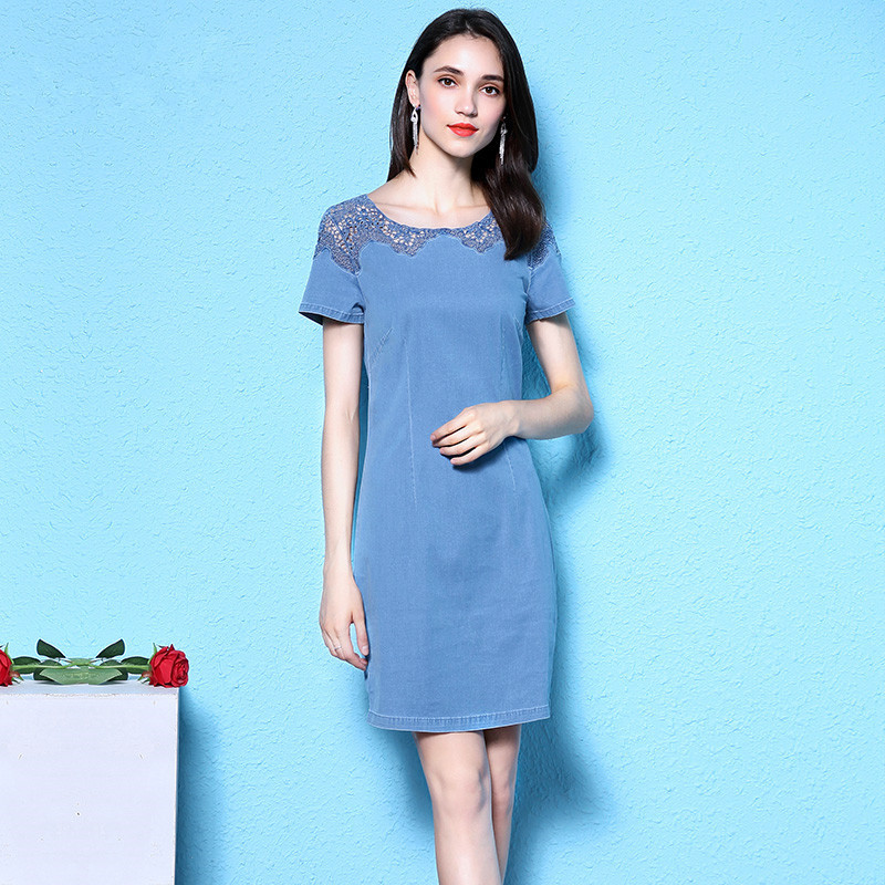 Nordic winds denim dress 2018 autumn new arrival lace embroidery oversize summer women nw18b2683