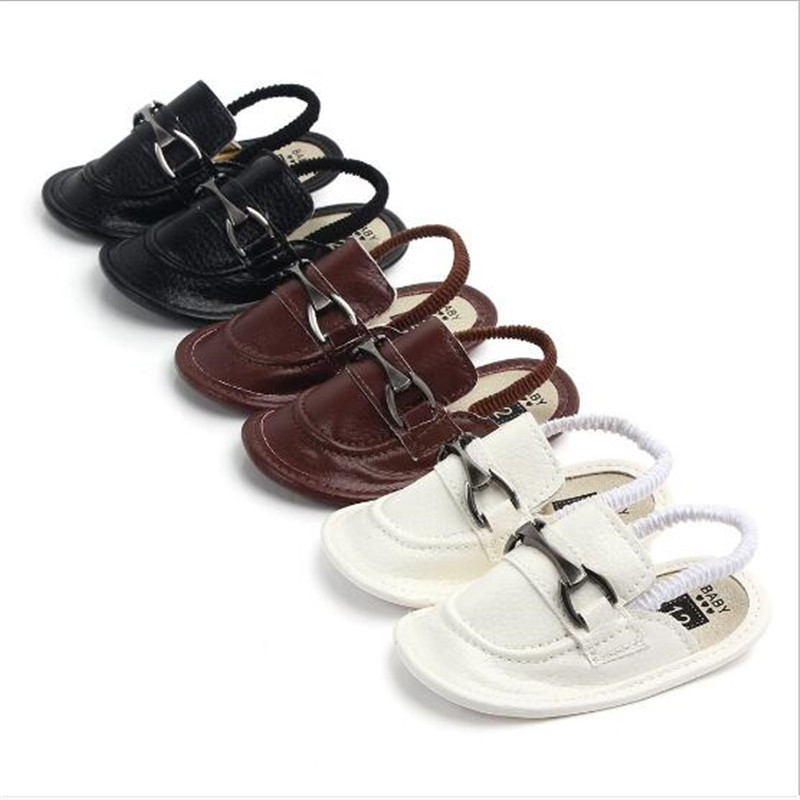 Fashion Baby Shoes Slippers Summer Infant Boys PU First Walkers Soft Sole Newborn Crib Shoes