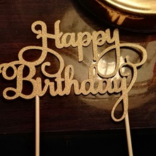 Gold Glitter Happy Birthday Cake Topper Calligraphy