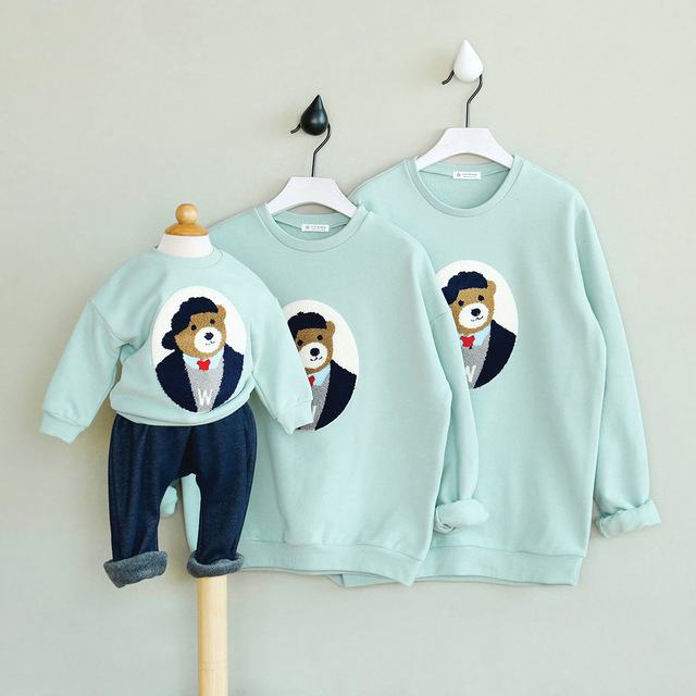 family look matching winter clothes mother and daughter son and father clothes outfits mother father baby sweatshirts velvet top