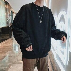 Image 4 - 2020 корейский стиль мужской пуловер с вышивкой в виде букв пальто свободные толстовки хлопковые повседневные однотонные толстовки M XL