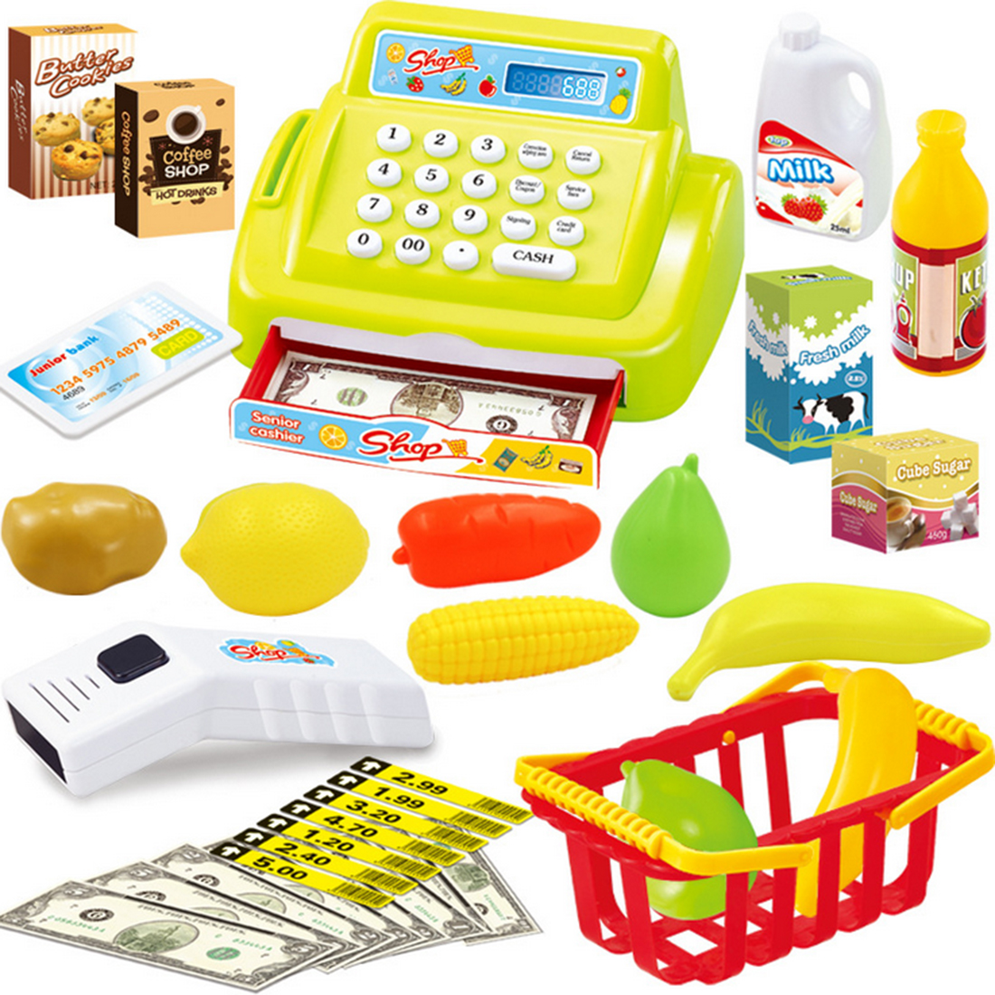 Kids House Toy Mini Supermarket Shop Cash Register Kit Toy Pretend & Play Playset As New Year Christmas Birthday Gift