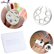 Monja Mini Nail Art Metal Finger Ring Palette Acrylic UV Gel Polish Painting Drawing Color Pigment Glue Liquid Storage Plate