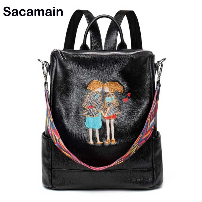 Sacamain Brand Backpack Embroidery Genuine Leather Backpack China Feature Handmade Casual Backpack New Year Gift For Girlfriend a three dimensional embroidery of flowers trees and fruits chinese embroidery handmade art design book