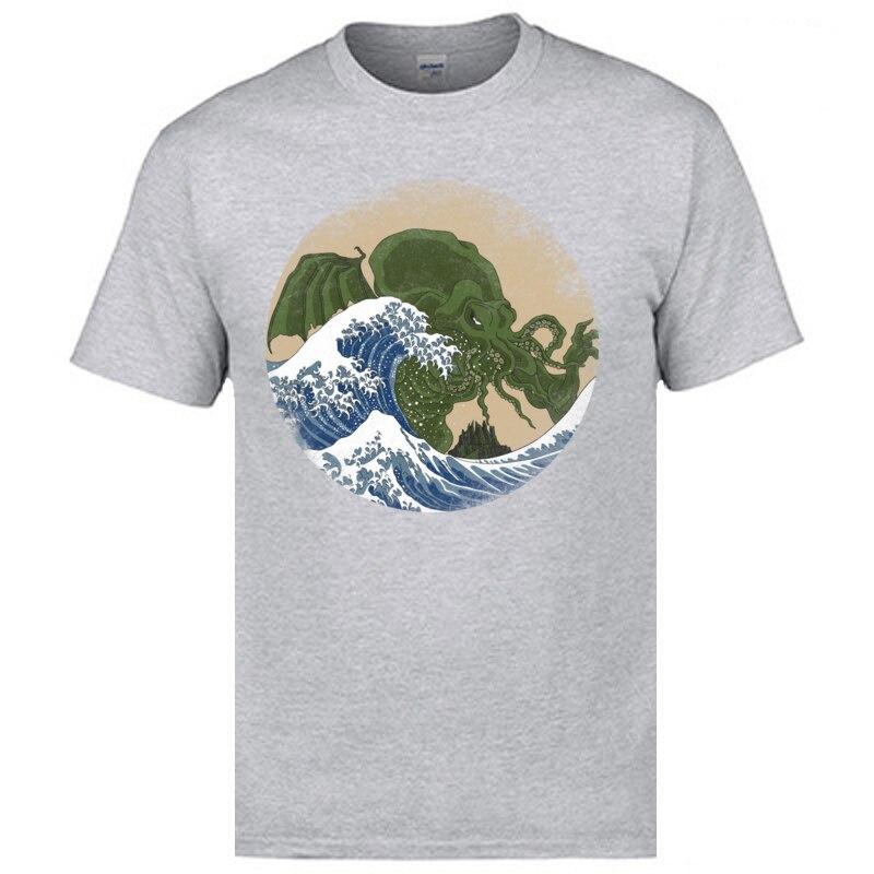 Slim Fit Hokusai Cthulhu T-shirts Hip Hop Mother Day Short Sleeve Round Collar Tees Cotton Fabric Men Print Tops T Shirt Hokusai Cthulhu grey