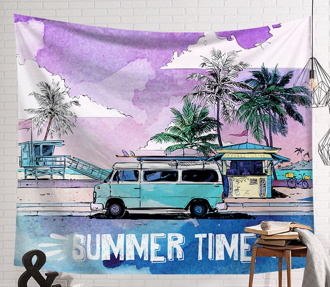 Image 4 - CAMMITEVER Summer Beach Sports Surf Board Wall Hanging Tapestries Blue Sky Decorative Wall Yoga Mats-in Tapestry from Home & Garden