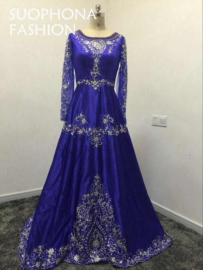 Nueva llegada satén abiye azul real kaftan vestido de noche largo ...