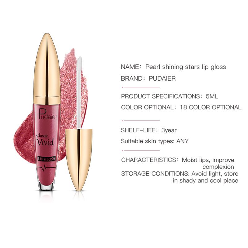 Pudaier Lip Gloss Liquid lipstick Lipgloss Glitter Flip Glitter Lip Glosses Makeup Matte Lipstick Shimmer Long Lasting Cosmetics in Lip Gloss from Beauty Health