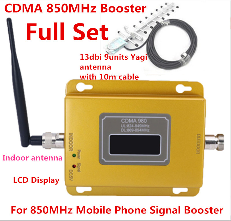 70dB LTE UMTS GSM CDMA 850 MHz 2G 3G 4G Wireless Mobile telefon Repeater Signal Booster Signal Repeater Verstärker + Kabel + Antenne