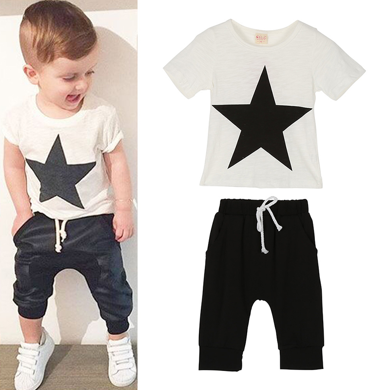 2pcs Baby Boy Summer Star Printed Clothes Set Child Boys T shirt+Pants Kids Clothes Children Clothing Set 2pcs set baby clothes set boy
