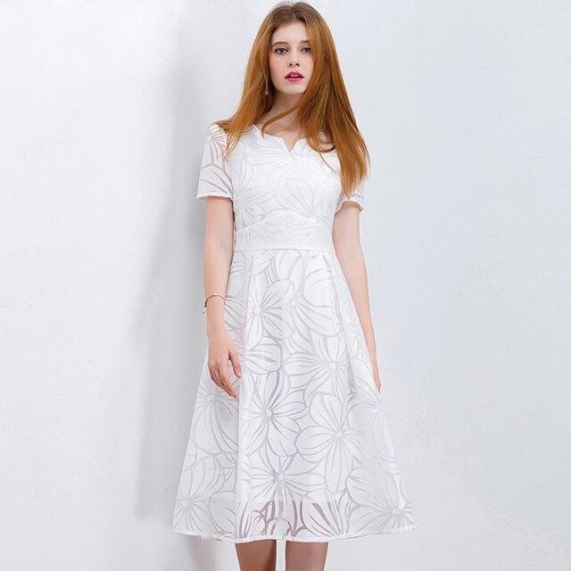 HELIAR Organza Weiß Kleider für Sommer Kurzarm Elegante Floral Damen Hohe Taille Party Kleider Aushöhlen Neue Design