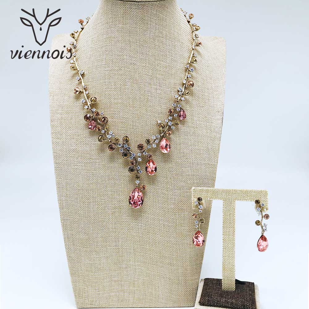 Viennois Mix Gold Color Crystal Drop Earrings Rhinestone Necklace Set For Women Geometric Party Jewelry Set 2019