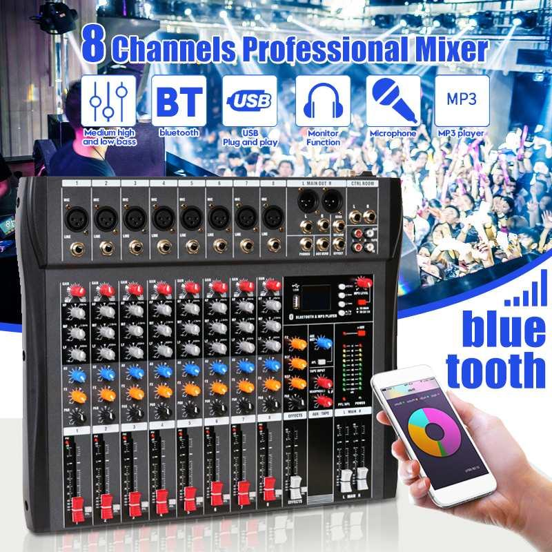 Mélangeur Audio professionnel 8 canaux avec bluetooth USB DJ Console de mixage de son MP3 Jack amplificateur karaoké pour karaoké KTV Party
