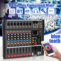 Professional 8 Channel Audio Mixer with bluetooth USB DJ Sound Mixing Console MP3 Jack Karaoke Amplifier For Karaoke KTV Party