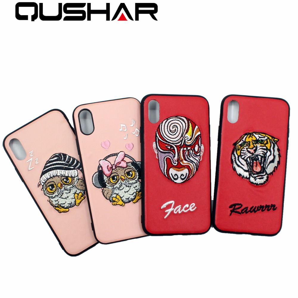 QuShar Animal Pattern embroidery Case for iphone 8 6s plus Phone Cover pink red PU Leather Hard PC case for iphone x 10 6 7 plus