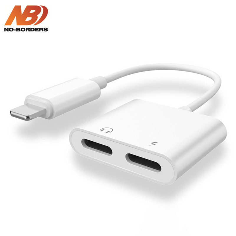 NO-BORDERS Audio Adapter Charger Cable Dual Headphone Aux Cable For Lightning Converter For IPhone 8 X 10 XR Charging Splitter