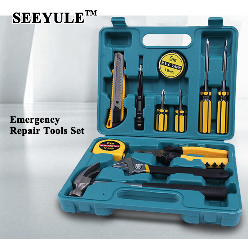 11pcs/set SEEYULE Car Emergency Repair Tool Set Box Driver Pliers Electroprobe Tape Wrench Knife Kit Car Road Safety for Home руль проводной defender forsage sport 64372