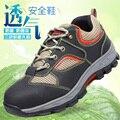 Hombres de la manera más el tamaño respirable de acero puntera cubre calzado de seguridad calzado de trabajo de herramientas de cuero suave botines chaussure homme zapatos
