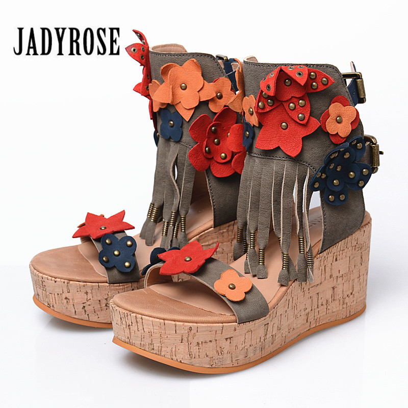 Jady Rose Bohemia Flowers Decor Women Sandals Platform Wedge Shoes Woman Fringed Gladiator Sandal Wedges Sandalias Mujer цена