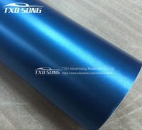 Premium Light blue color Metallic brushed matte chrome vinyl film brushed chrome car wrap with free shipping
