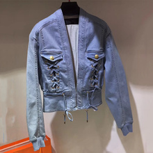 Women Jean Jacket Denim Long Sleeve Lace Up Jean Coats 2017 High Quality Spring Jackets