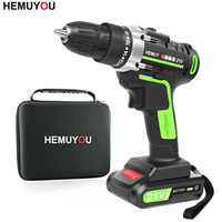 21V Screwdriver cordless Electric Drill Mini Wireless Power Drill Lithium-Ion Battery Screwdriver Power Tools 3/8-In Chuck