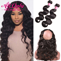 7A Indian Virgin Hair Body Wave With Closure 360 Lace Frontal With Bundle 2pc Human Hair Bundles With 360 Lace Frontal Closure