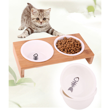 New Pet Dog Bowl Cat Bamboo Wooden Frame Ceramic Two Bowls with Food Table Puppy Cats Dogs Water Supplies