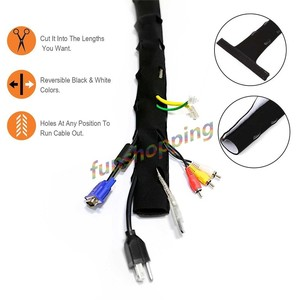 Image 4 - 4 pcs 1.2 m Cable Management Sleeve ห่อสาย Neoprene แบบยืดหยุ่นสายไฟ Hider Cover Organizer ระบบสำหรับ PC/ TV/Office/โทรศัพท์