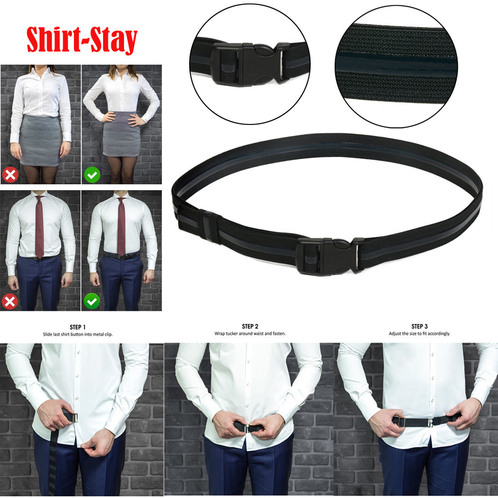 Men Women Adjustable Shirt-Stay Best Shirt Stays For Men Black Tuck It Belt Shirt Men Belt  Designed Hold Up Shirt D