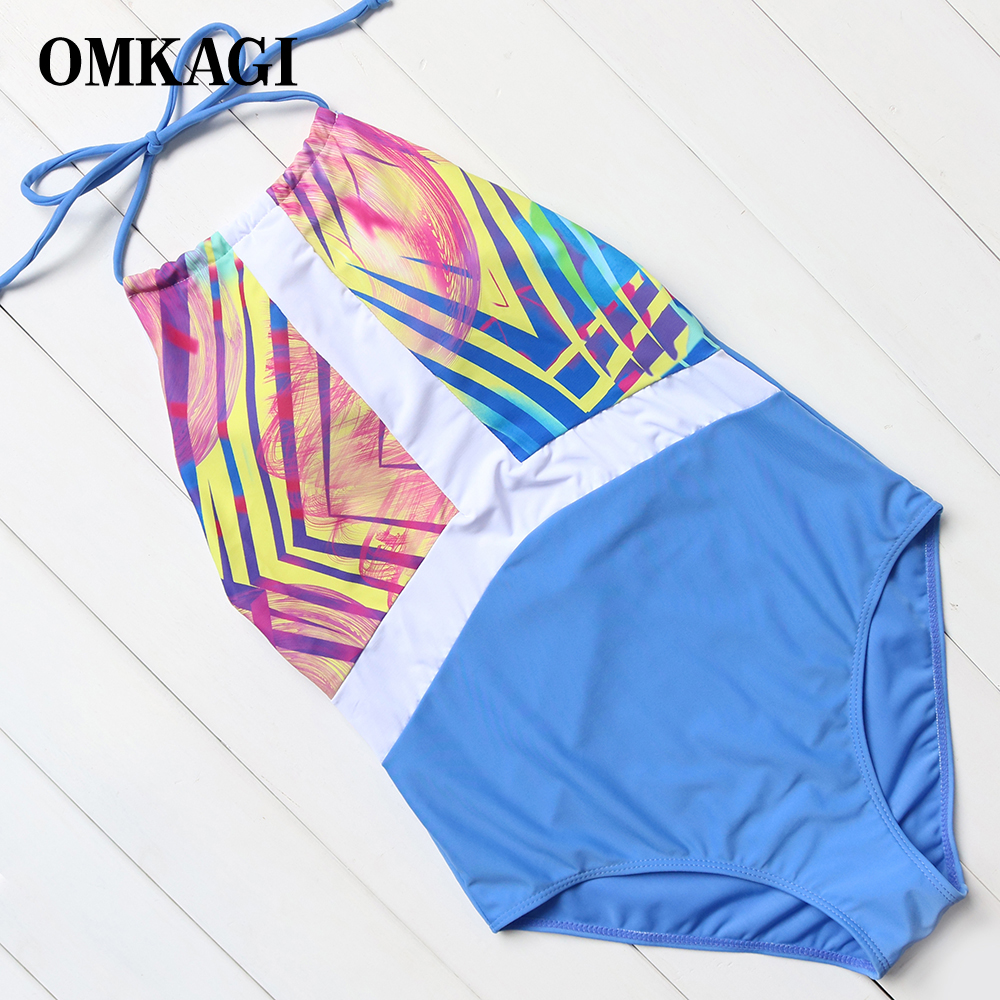 OMKAGI Brand Sexy Patchwork Backless One Piece Swimsuit Women Monokini Swimwear Summer Bandage Beach Wear Bathing Suit Body Suit women solid one piece swimsuit halter backless bandage bodysuit monokini deep v neck sexy high waist vintage beach wear