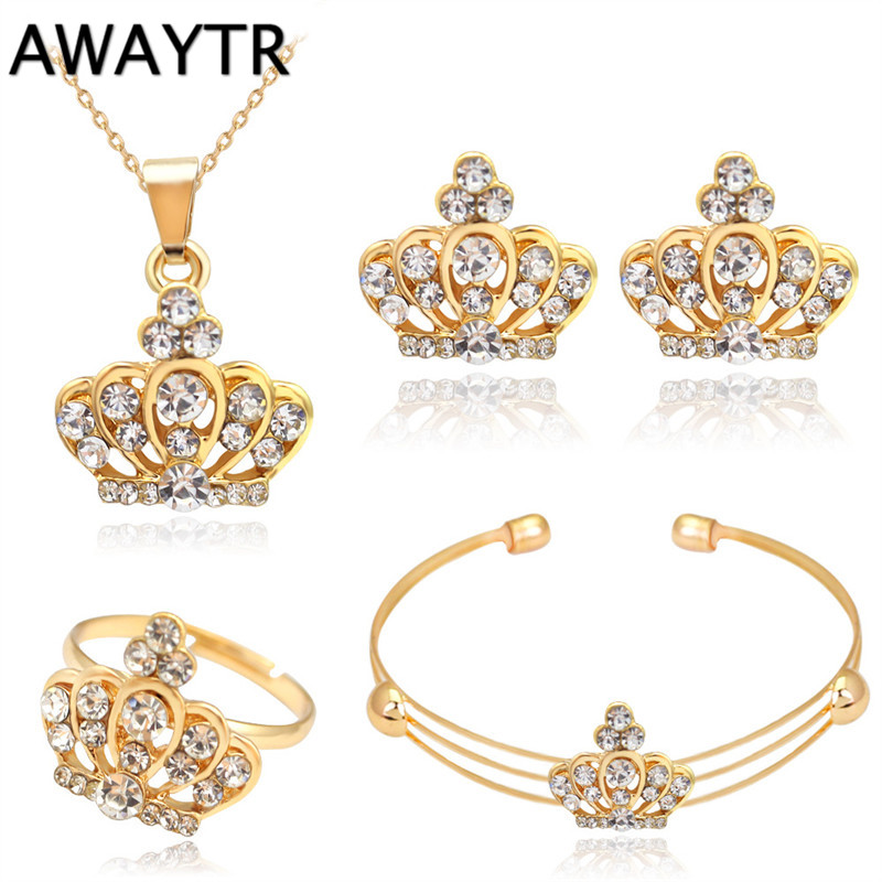 AWAYTR Queen Style Luxury Wedding Accessories Bijoux Mariage Jewelry Set Crystal Gold Plated Necklace Bracelet Earring Rings Set