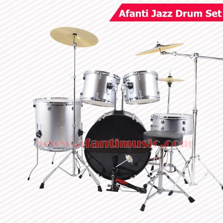 5 drums 3 crash cymbals silver color afanti music jazz drum set drum kit ajds 431 in. Black Bedroom Furniture Sets. Home Design Ideas