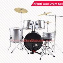 5 Drums 3 Crash Cymbals Silver color Afanti Music Jazz Drum Set Drum kit AJDS 431