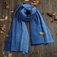 LinenAll handmade tie dyed linen and cotton Scarf Original design plant dye Blue dye gift long big for male and female