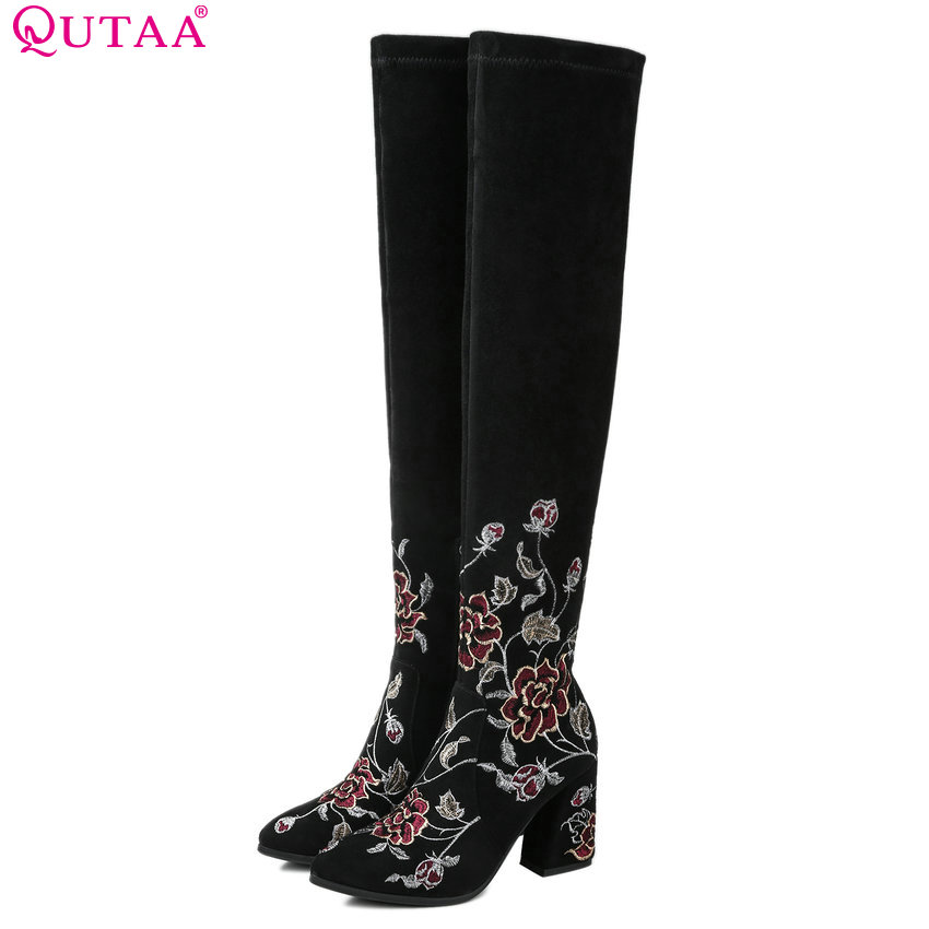 QUTAA 2018 Women Over The Knee High Boots Fashion Pointed Toe Westrn Style High Quality Square High Heel Women Boots Size 34-43 qutaa 2017 women over the knee high boots all match pointed toe high quality thin high heel pointed toe women boots size 34 43