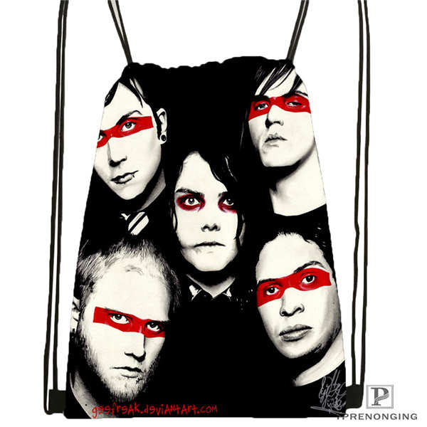 Custom its my chemical romance Drawstring Backpack Bag Cute Daypack Kids Satchel Black Back 31x40cm 180611