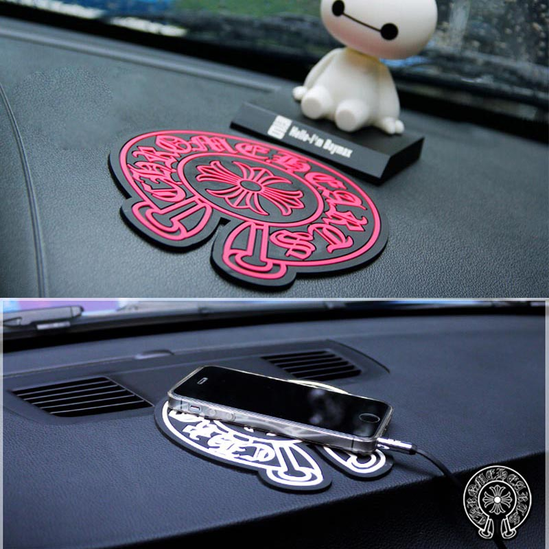 1PCS LOT Round Chrome Heart Car perfume anti slip pad phone slip mat For Citroen DS3