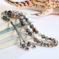 BFQ 100 Original Natural Agate Stone Muslim Prayer Beads Islamic Beads Tasbih Allah Prayer Rosary Tesbih