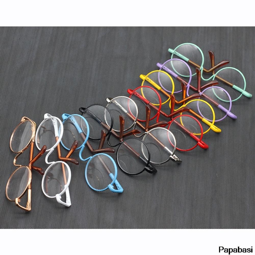 1glasses+1box 1/6 Cute Round Frame Clear Lens Glasses Eyewear 12inch 18inch Dolls Accessory For Blyth Dolls Toy Es008