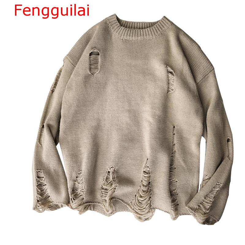 Fenguilai Men's Sweater 2019 Autumn Winter Pullover Men Fashion Hollow Hole Loose Knitted Male Sweaters Sueter Hombre